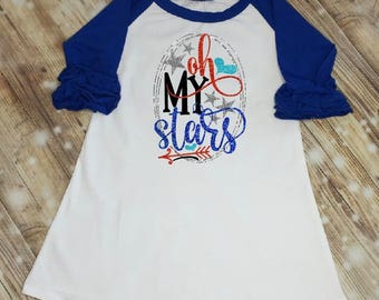Oh My Stars Fourth of July Dress, 4th of July Outfit, Girls Icing Ruffle Raglan Dress, Monogram Dress
