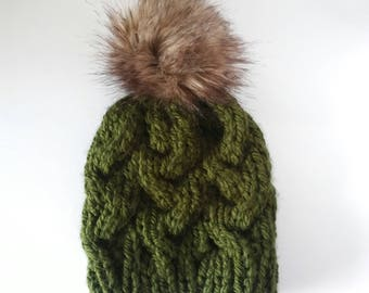 Olive green fitted cable hat, fitted cable beanie with faux fur pom, faux fur pom hat,  green hat, braided hat, green winter beanie, rts hat