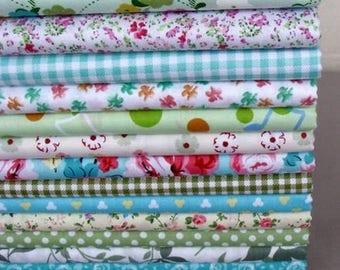 13 coupons fabric patchwork/seam 40 x 50 cm Green Spring tones 210315