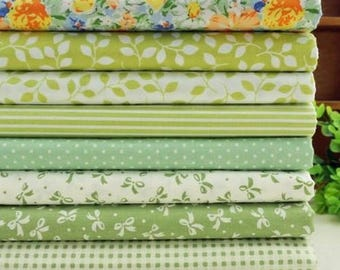 8 coupons fabric patchwork/seam 40 x 50 cm green 1016.