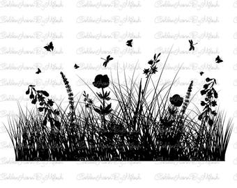 Grass Silhouette wildflowers SVG Dxf Png Eps Files Vector Herbs Butterfly floral clipart Nature Meadow flowers print Digital cutting file