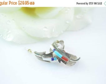 HUGE Sale Southwestern Multi-Stone Curved Feather Post Earrings Sterling Silver 3.9g