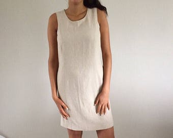 Vintage 90s Oatmeal Linen Sleeveless Shift Tank Dress | M Size 4/6