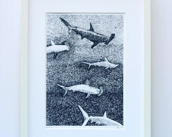 hammerheads drawing, screenprint, A4, recycled paper
