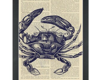 Blue crab nautical Dictionary Art Print