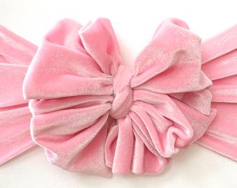 Pink velvet messy bow, messy bow headband, messy headband, mini messy bow, velvet messy bow, messy bow head wrap, baby headband