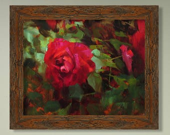 Red Rose - Plein Air, Original Oil Painting, One of a kind