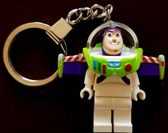 Toystory Buzz Lightyear Minifigure (with plain white torso legs) Keychain - Handmade made from LEGO Parts