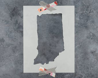 Indiana State Stencil - Hand Drawn Reusable Mylar Stencil Template