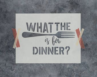 "What the Fork Sign Stencil - Reusable DIY Craft Wood Sign Stencils of ""What the Fork is for Dinner"""