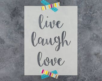 Live Laugh Love Stencil - Reusable DIY Craft Stencils of Live Laugh Love Sign