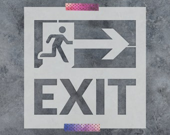 Exit Sign Stencil - Reusable DIY Craft Stencils of an Exit Sign