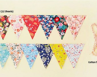 Floral Party Banner Home Decoration Colorful and Fun Paper Party Flag Banner