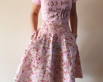 Summer Rose Confetti High Waisted Fit and Flare Skirt