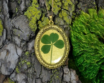 "Genuine 4 Leaf Clover Cameo Necklace [BC 014] /Gold Tone 18"" Necklace / White Clover Pendant / Triforium Repens / Good Luck Charm"