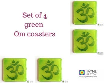 Set of 4 green Om coasters, green and blue, fused glass, green home decor, interior design details, gift for her, gift for him, home gift
