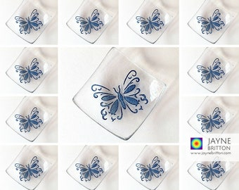 35 Glass butterfly bowls, symbol of transformation, uplifting gift, tea light candle holder, wedding favor,favour, party gift, bulk purchase