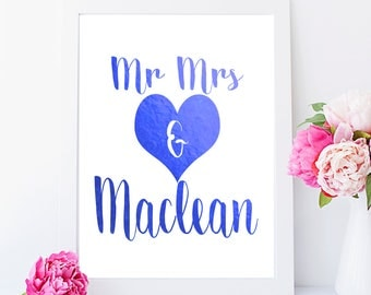 Mr and Mrs, couples, wedding, home decor, Gold foil print