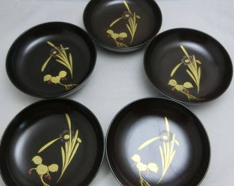 Antique! Black Lacquering Small Round Tray with genuine Gold Tooling Japan Made