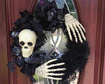 Skeleton wreath, Halloween wreath, bone Halloween wreath, creepy wreath, skeleton Halloween wreath, outdoor wreath, grapevine Halloween