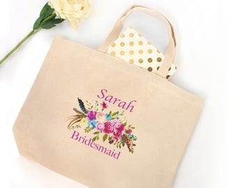 Bridesmaid Tote | Floral Tote | Gift for Bridesmaid | Destination Wedding Bridal Party Gift | Bridal Party Tote Bags | Fall Wedding Totes
