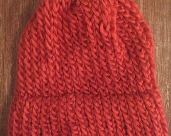 Pumpkin Orange Knit Hat