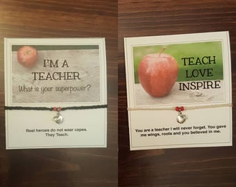 Teacher bracelet, back to school, teacher appreciation, teach love inspire, teaching is my superpower