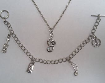 Music Lovers Necklace and Charm Bracelet