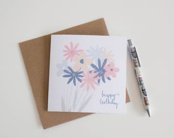 Happy Birthday! Floral Illustrated Card