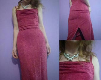 scarlet sparkle disco holiday cling maxi dress