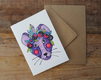 RAT LOVER GIFT ~ Magical Rat Birthday Card ~ Purple Rat Greetings Card ~ Mouse Illustration ~ Mouse Birthday Card ~ Animal Lover Art