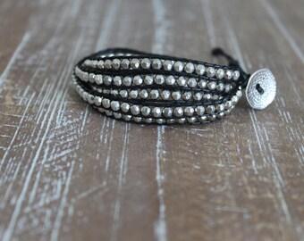 silver metal bead wrap bracelet