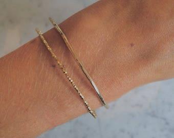 Bracelet jonc en argent sterling plaqué or 18k