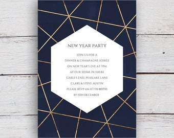 Geo Printable Gold Geometric and Watercolour Party Invitation - Deep Blue