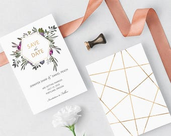 MUTED FLORAL Suite - Save the Date Card - Editable Template - Faded Florals & Gold-Effect Geometric Design - Printable - Instant Download