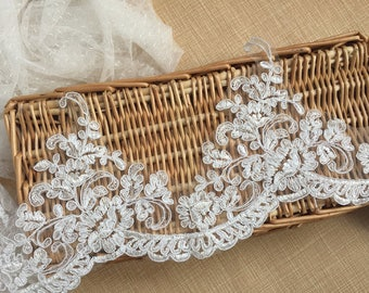Off-White Trim Lace, Lace Trim for Bridal Veil, Wedding Lace Trim, 5.90 Inches Wide 1 Yards/ Craft Supplies, WL892