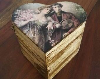 Engagement ring box, Vintage engagement ring box, Vintage wedding ring box, Commitment ring box, Ring box, Vintage wedding, OOAK