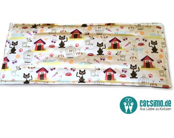 """Cat berth """"Pets"""" ~ sewn deck cushions, cat bed, cosy place, cats, window sill, cotton, fleece,"""