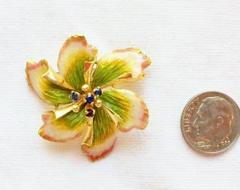 "Estate 18k HEAVY Yellow Gold Enamel Sapphire Brooch Flower Floral HUGE 1.5"" Marked Italy 18 K kt 18kt Vintage Enamaled Statement 10.7g Giant"