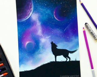 Galaxy pastel illustration | Original pastel art | Wolf art | Wildlife art | Wolf illustration | Galaxy art