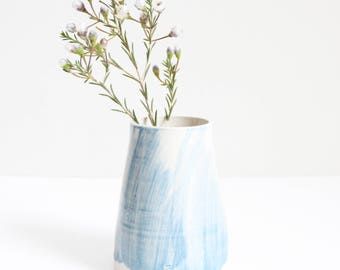 light blue brushed vase, small, pot, handmade, wheel thrown, ceramic, pottery, glazed