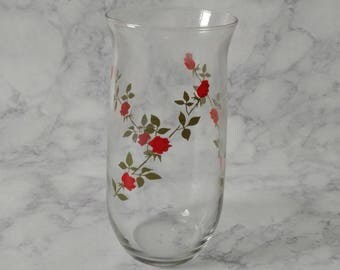 80s 90s Vintage Rose Glass Drinkware/Kitchenware
