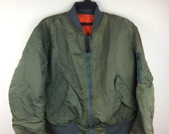 MEGA SALE !! Vtg Alpha Industries M1 Flyer's Jacket Reversible Made in Usa Air Force Jacket Rare Design