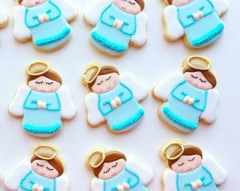 Blue favor/Baptism favors/christening cookies // baptism gifts // baptism // christening favors // christening/angel/ angel cookies/baby boy