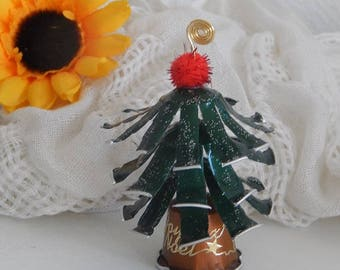 Christmas: Name-shaped tree Nespresso capsules with red tassel