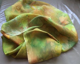 hand painted silk scarf your autumn 180 cm x 45 cm