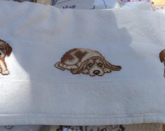 dishcloth pattern puppies cross-stitched new cotton pique