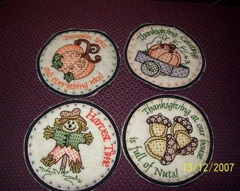emboidered Thanksgiving Coasters
