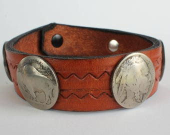 Indian Head Nickel Bracelet Leather Strap Snap Closure Real Nickels