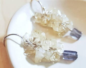Citrine & Iolite Cluster Earrings